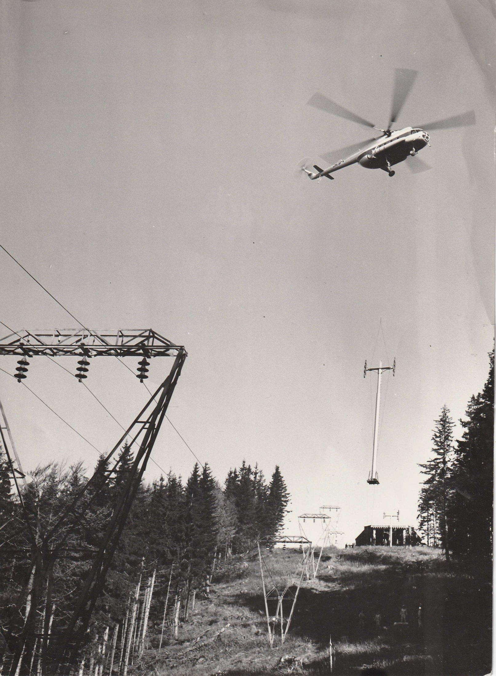 Výstavba lanovky na Martinské hole, 1974