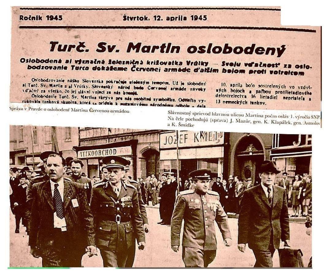 Turč. Sv. Martin oslobodený v roku 1945