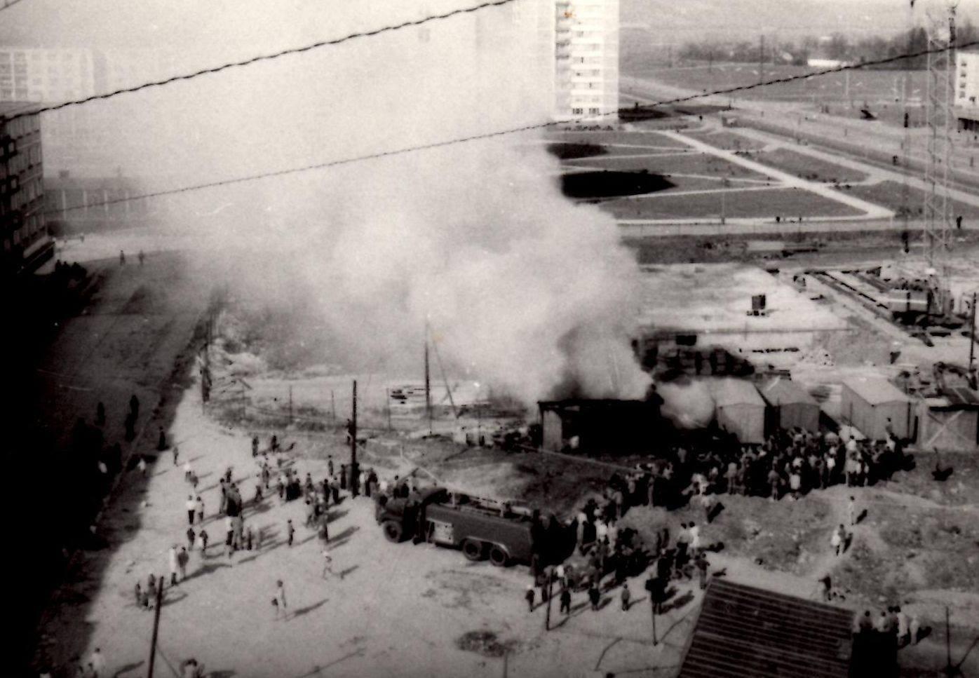 Sever, požiar bytových jadier, 70te roky